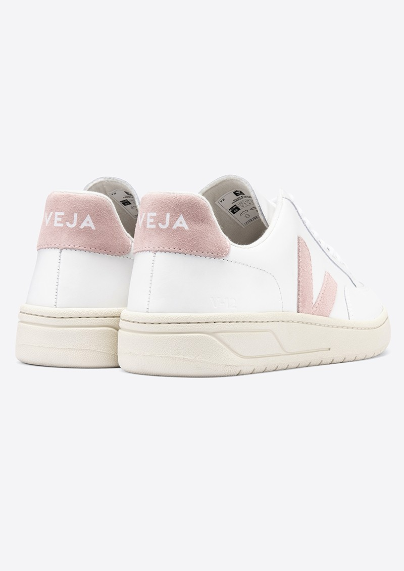 VEJA V-12 Leather Trainers - Extra White & Babe main image