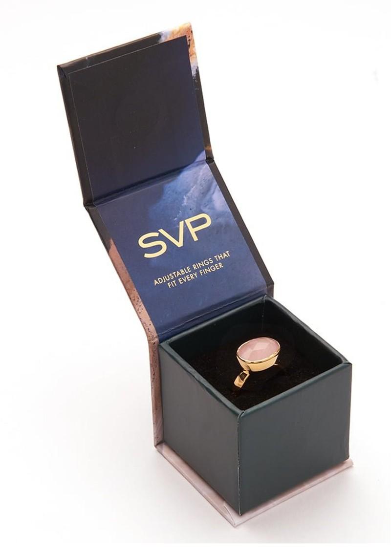 SVP Atomic Maxi Adjustable Ring - Gold & Blue Lace Agate main image