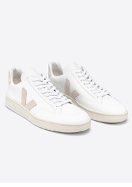 VEJA V-12 Leather Trainers - Extra White & Sable