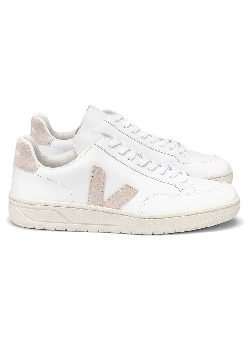 VEJA V-12 Leather Trainers - Extra White & Sable main image