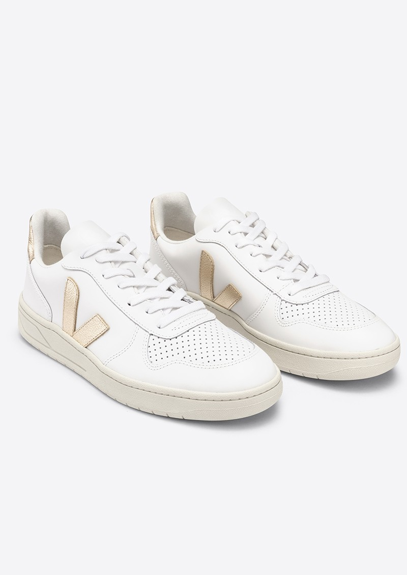 VEJA V-10 Leather Trainers - Extra White & Platine main image