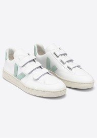 VEJA V- Lock Leather Trainers - Extra White & Matcha
