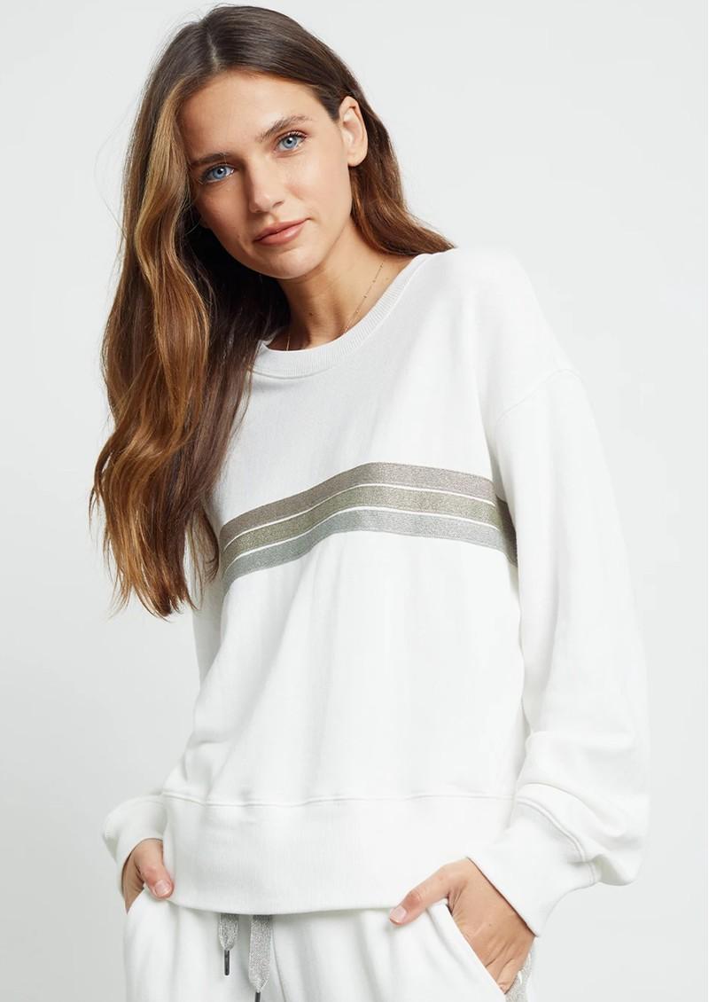 Rails Ramona Sweater - White Metallic Stripes  main image