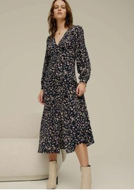 Lily and Lionel Emmy Silk Dress - Navy Ocelot