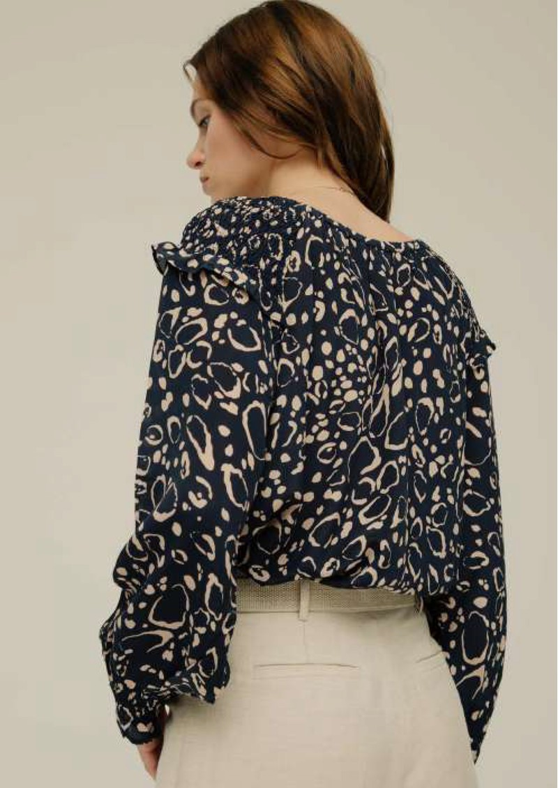 Lily and Lionel Gabrielle Silk Top - Navy Ocelot main image