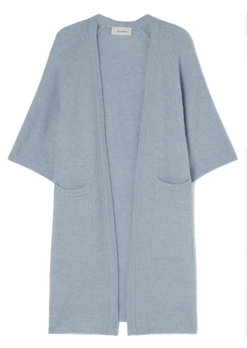 American Vintage East Long Short Sleeve Cardigan - Blue Sky Melange main image