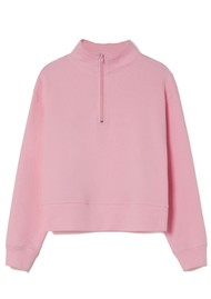 American Vintage Limabird Cotton Zip Up Top - Rose Bubble
