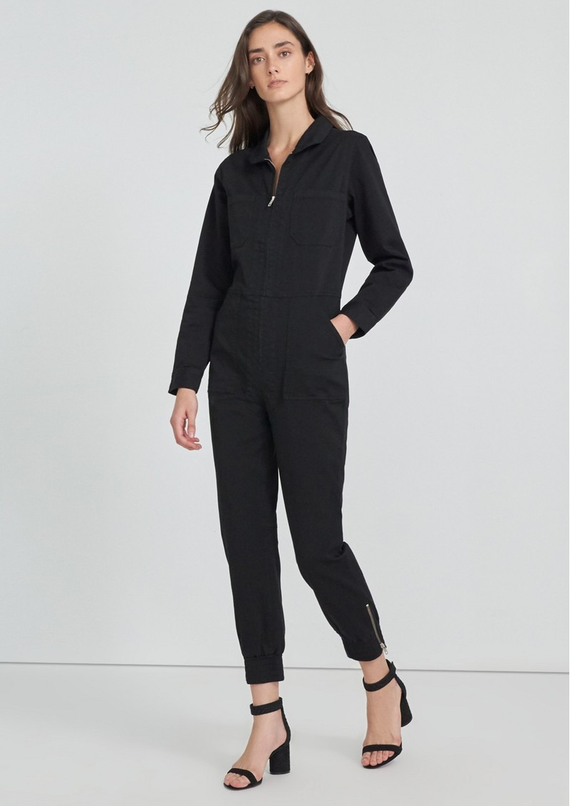 J Brand Arkin Cotton Mix Long Sleeve Jumpsuit - Black main image
