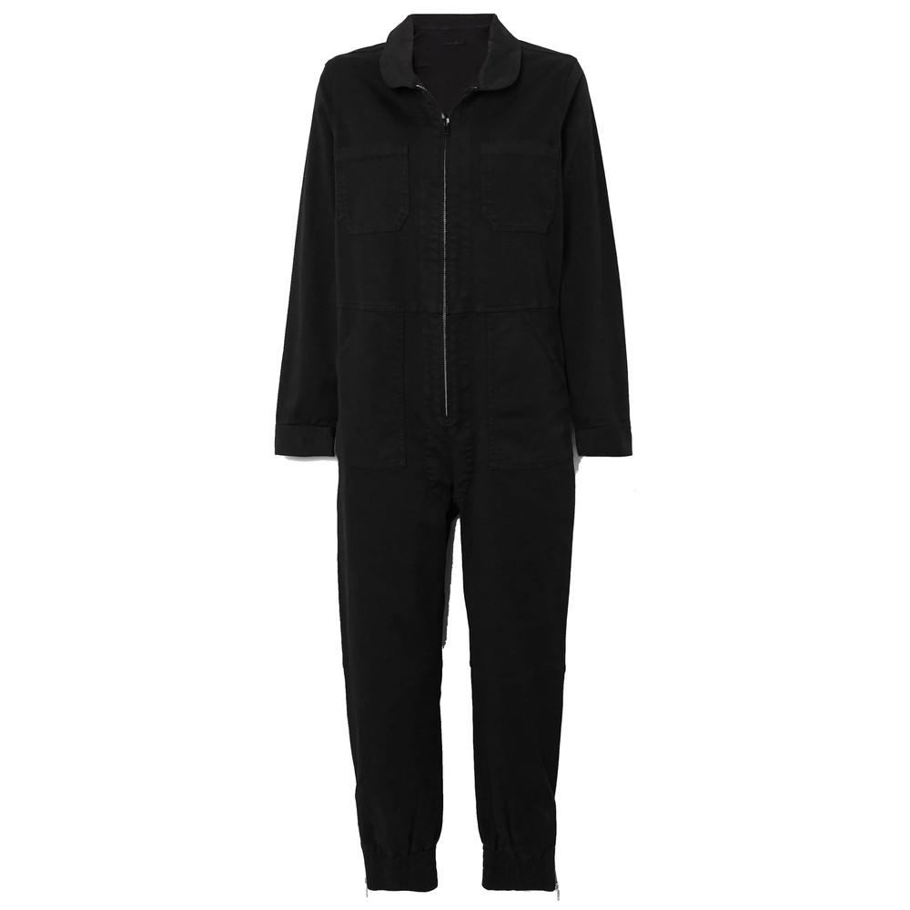 Arkin Cotton Mix Long Sleeve Jumpsuit - Black