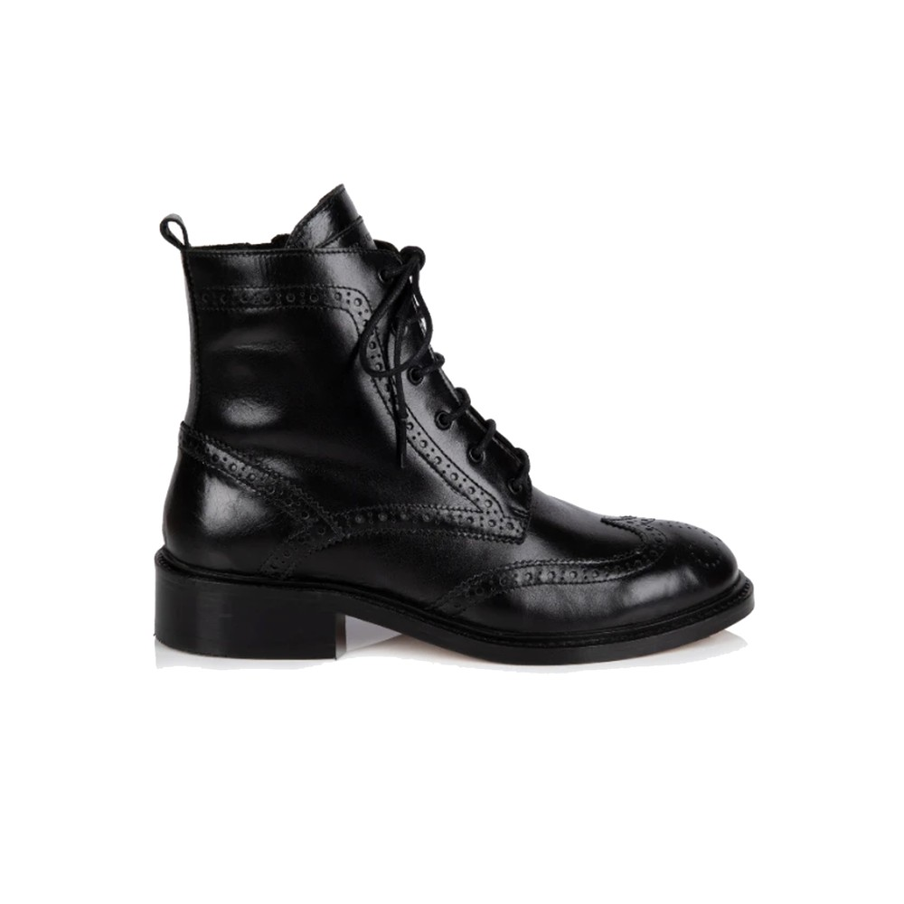 Riley Leather Lace Up Brogue Boots - Black