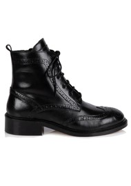 AIR & GRACE Riley Leather Lace Up Brogue Boots - Black