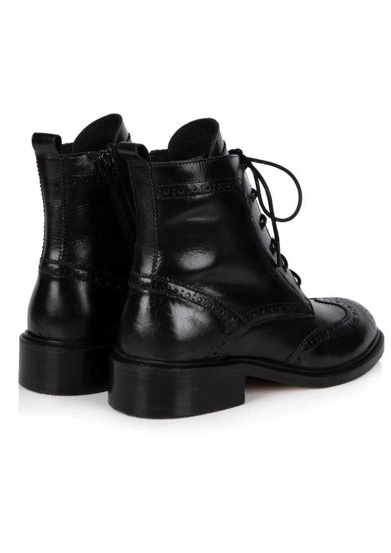 AIR & GRACE Riley Leather Lace Up Brogue Boots - Black main image