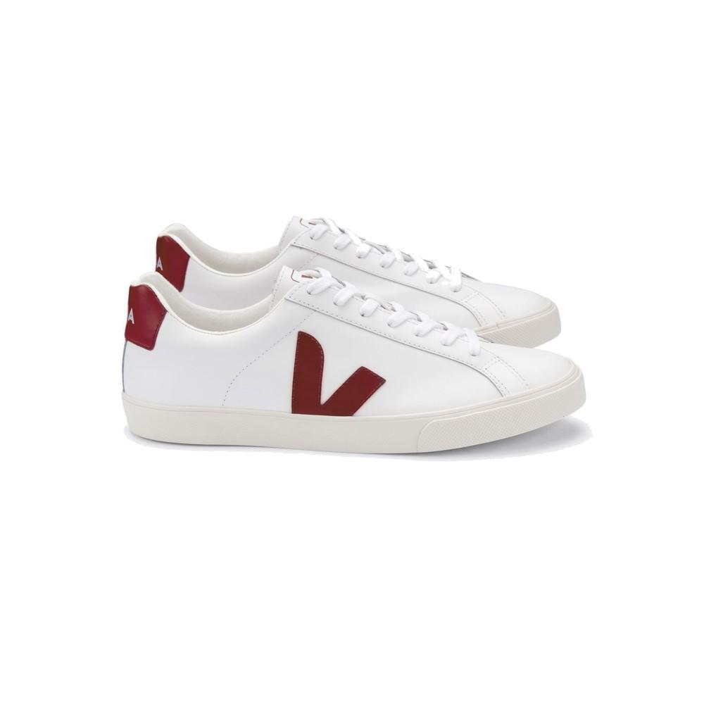 Esplar Logo Leather Trainers - Extra White & Marsala