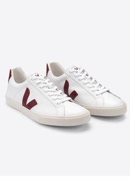 VEJA Esplar Logo Leather Trainers - Extra White & Marsala