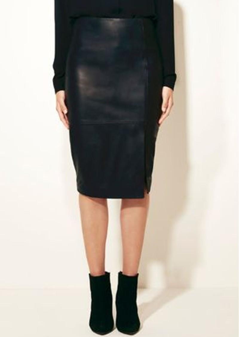 DANTE 6 Benedict Leather pencil Skirt - Raven main image