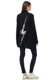 360 SWEATER Odin Cashmere Lightening Bolt Cardigan - Black