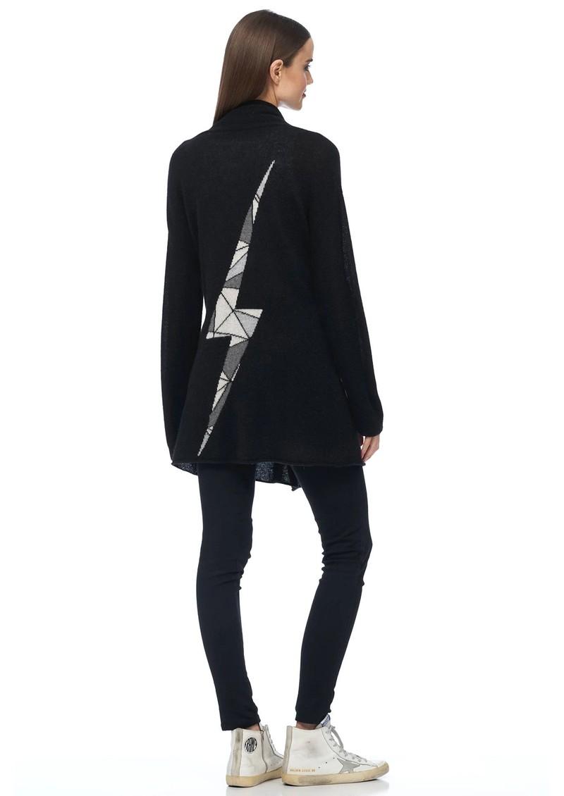 360 SWEATER Odin Cashmere Lightening Bolt Cardigan - Black main image