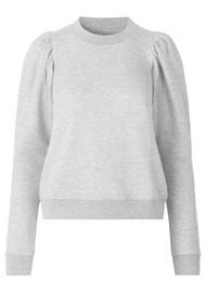 SECOND FEMALE Dawni Cotton Mix Sweater - Grey Melange