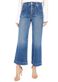 Paige Denim Anessa High Rise Cropped Wide Leg Exposed Button Front Jeans - Mirella