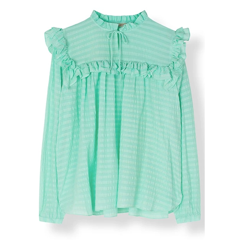 Saseline Silk Blend Blouse - Bright Mint