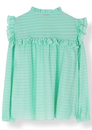 STELLA NOVA Saseline Silk Blend Blouse - Bright Mint