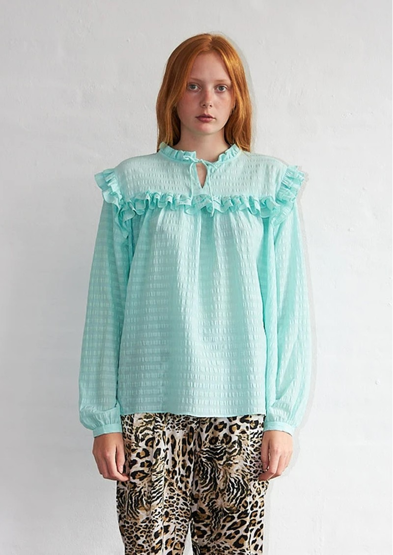 STELLA NOVA Saseline Silk Blend Blouse - Bright Mint main image