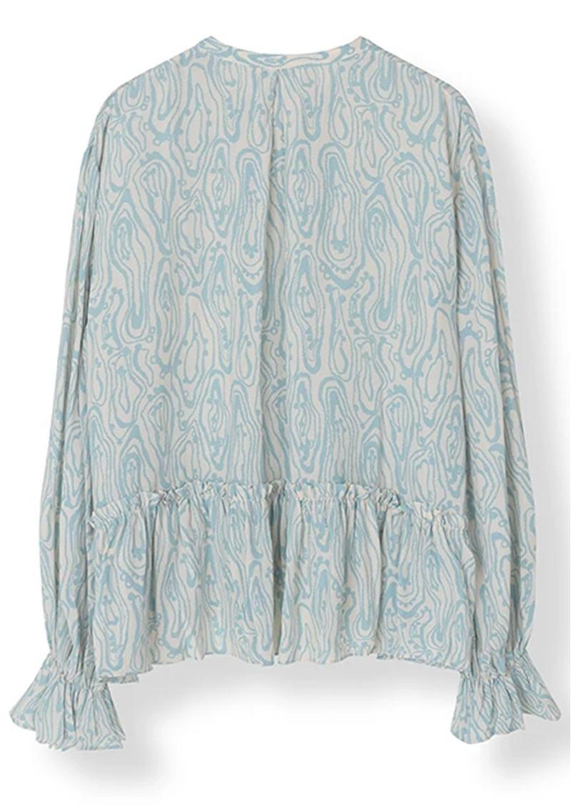 STELLA NOVA Rise Blouse - Creme & Blue main image