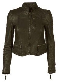 MDK Rucy Leather Jacket - Dark Green