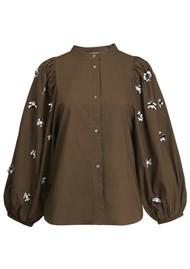 ESSENTIEL ANTWERP Zeatle Cotton Embroidered Shirt - Jungle Green