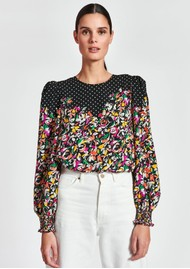 ESSENTIEL ANTWERP Zucculent Floral & Polka Dot Printed Top - Combo1 Black