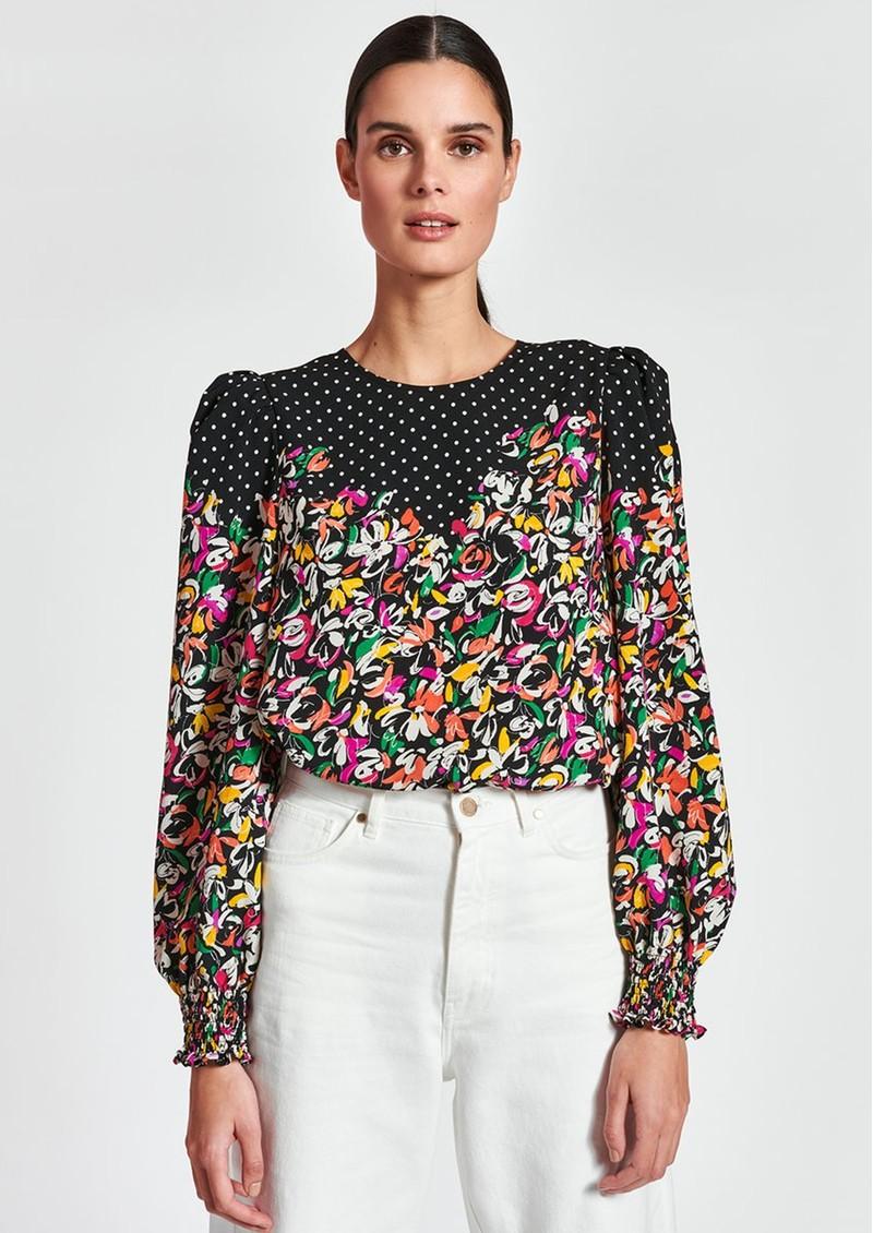 ESSENTIEL ANTWERP Zucculent Floral & Polka Dot Printed Top - Combo1 Black main image