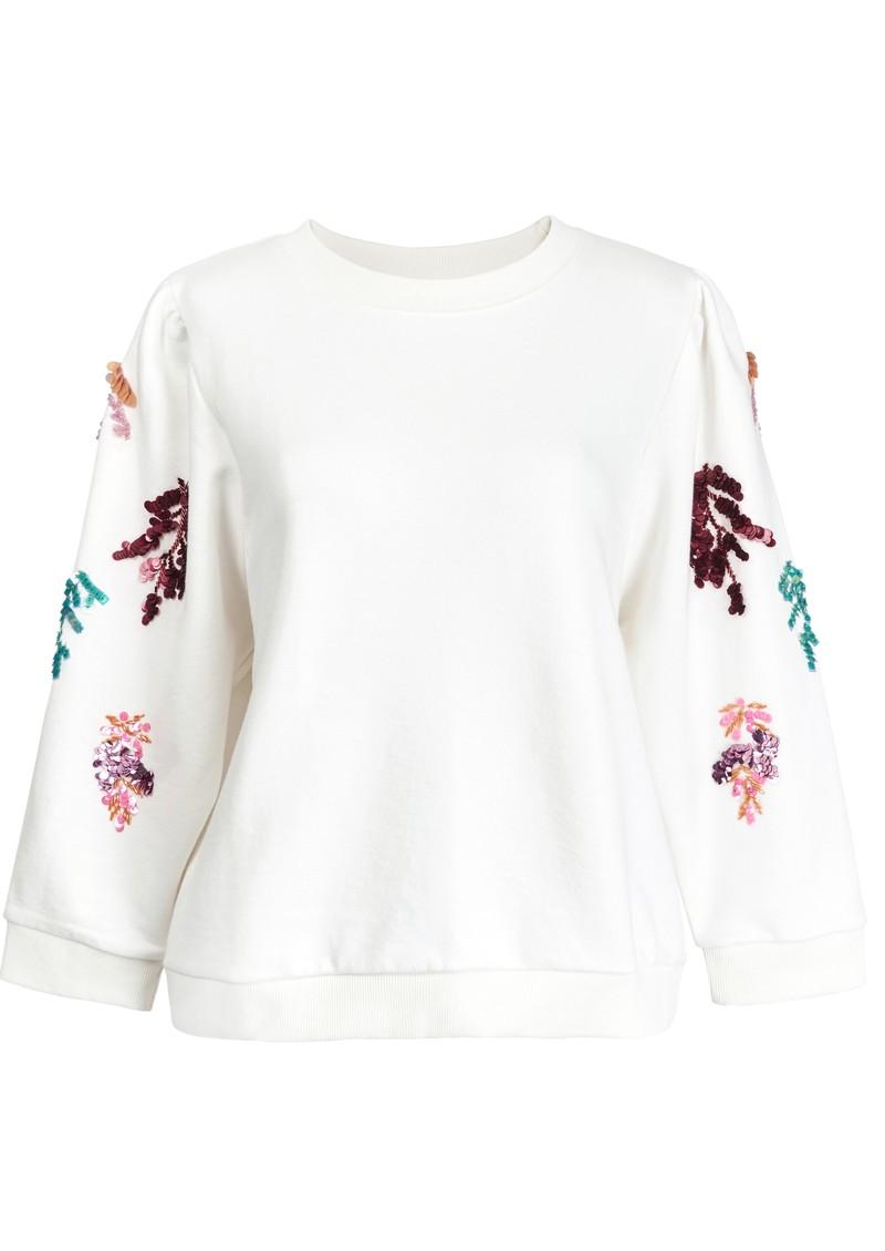 ESSENTIEL ANTWERP Zita Organic Cotton Sequin-Embroidered Sweatshirt - Off White  main image