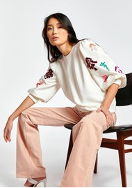 ESSENTIEL ANTWERP Zita Organic Cotton Sequin-Embroidered Sweatshirt - Off White
