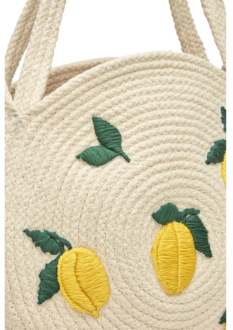 FABIENNE CHAPOT Summer Circular Basket Bag - Cream & Pistachio main image