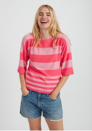 JUMPER 1234 Boxy Stripe Cashmere Sweater - Flamingo