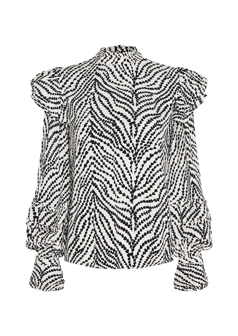 FABIENNE CHAPOT Leo Frill Top - Cream & Black main image