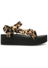 ARIZONA LOVE Trekky Platform Sandals - Leopard Satin