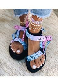 ARIZONA LOVE Trekky Sandals - Tie-Dye Blue & Pink