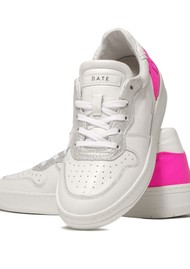 D.A.T.E Court Low Top Leather Trainers - White & Fuschia