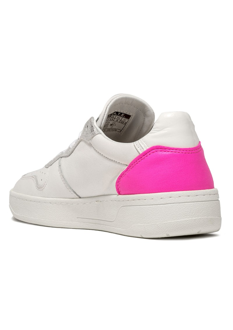 D.A.T.E Court Low Top Leather Trainers - White & Fuschia main image