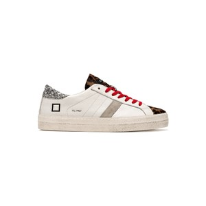 Hill Low Leather Trainers - White & Pony Leopard