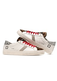 D.A.T.E Hill Low Leather Trainers - White & Pony Leopard