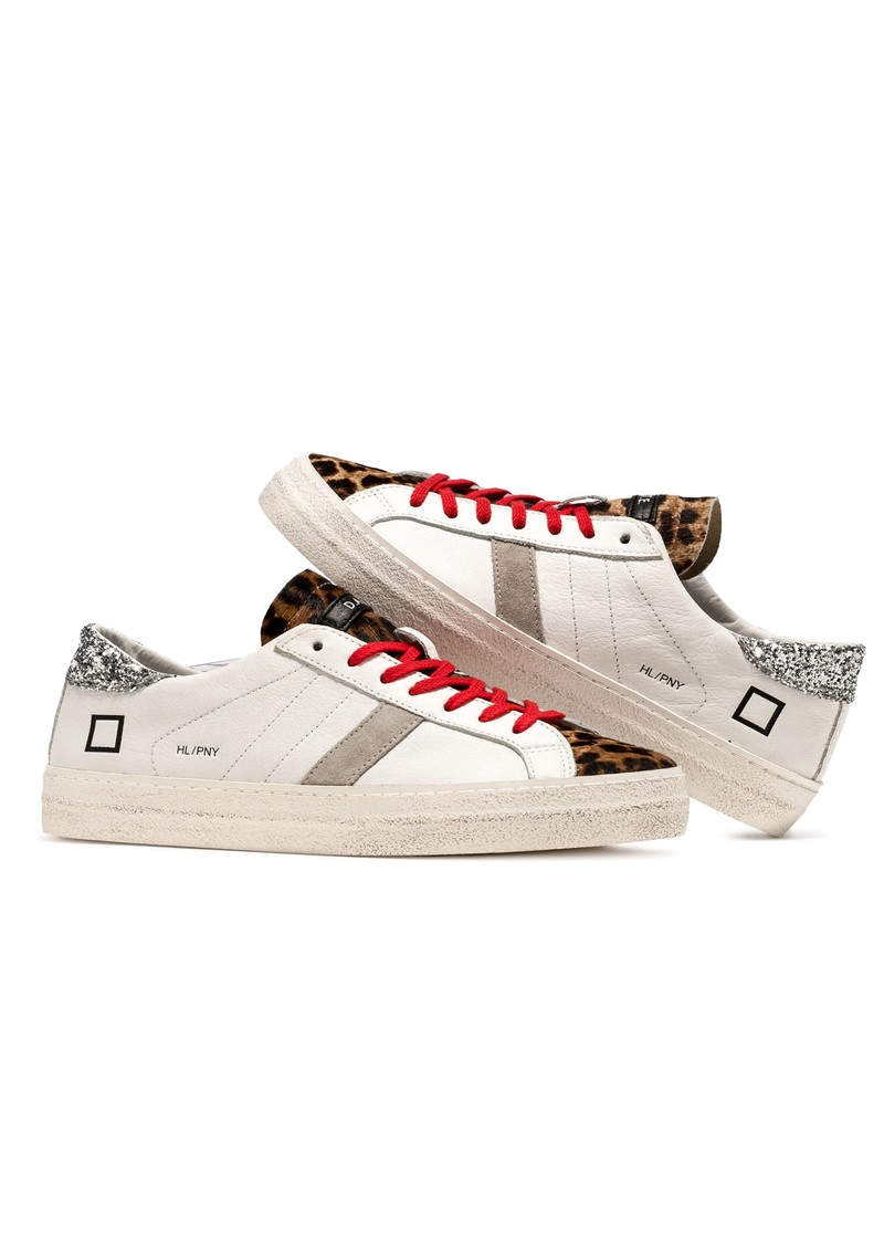 D.A.T.E Hill Low Leather Trainers - White & Pony Leopard main image
