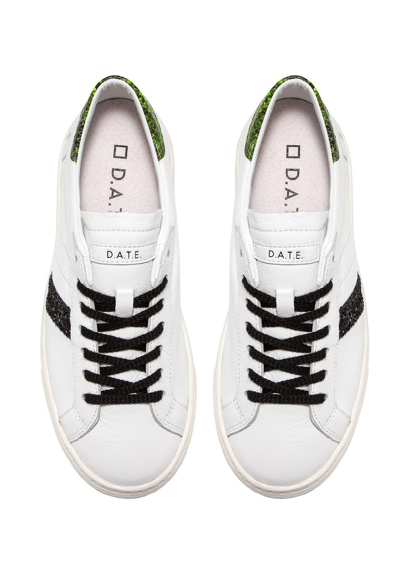 D.A.T.E Vertigo Leather Low Top Trainers - White & Green main image