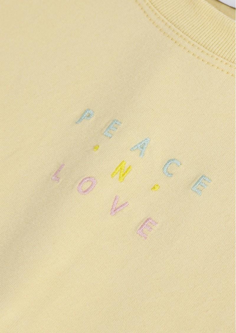 MAISON LABICHE Peace 'n' Love Crew Cotton Tee - Vanilla main image