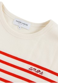 MAISON LABICHE Cool Sailor Long Sleeve Amore Top - Ivory Poppy