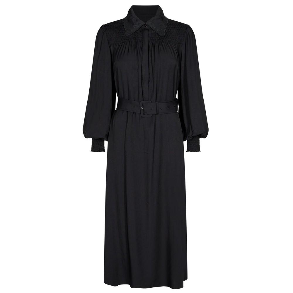 Lora 3 Belted Shirt Dress - Black