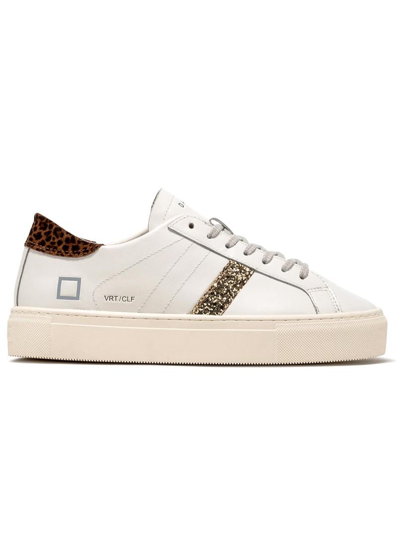 D.A.T.E Vertigo Leather Low Top Trainers - White & Leopard main image