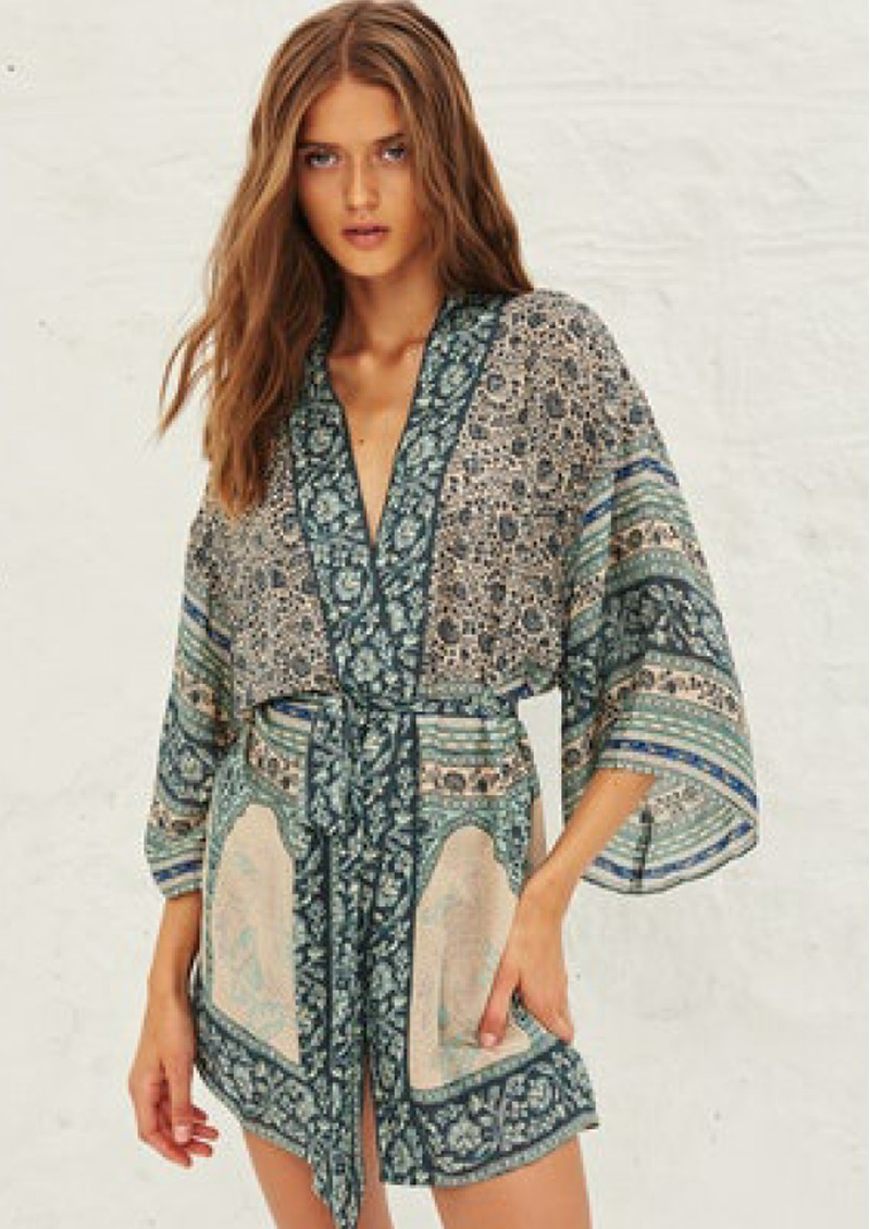 Ba&sh Toan Printed Kimono - Vertdeau main image