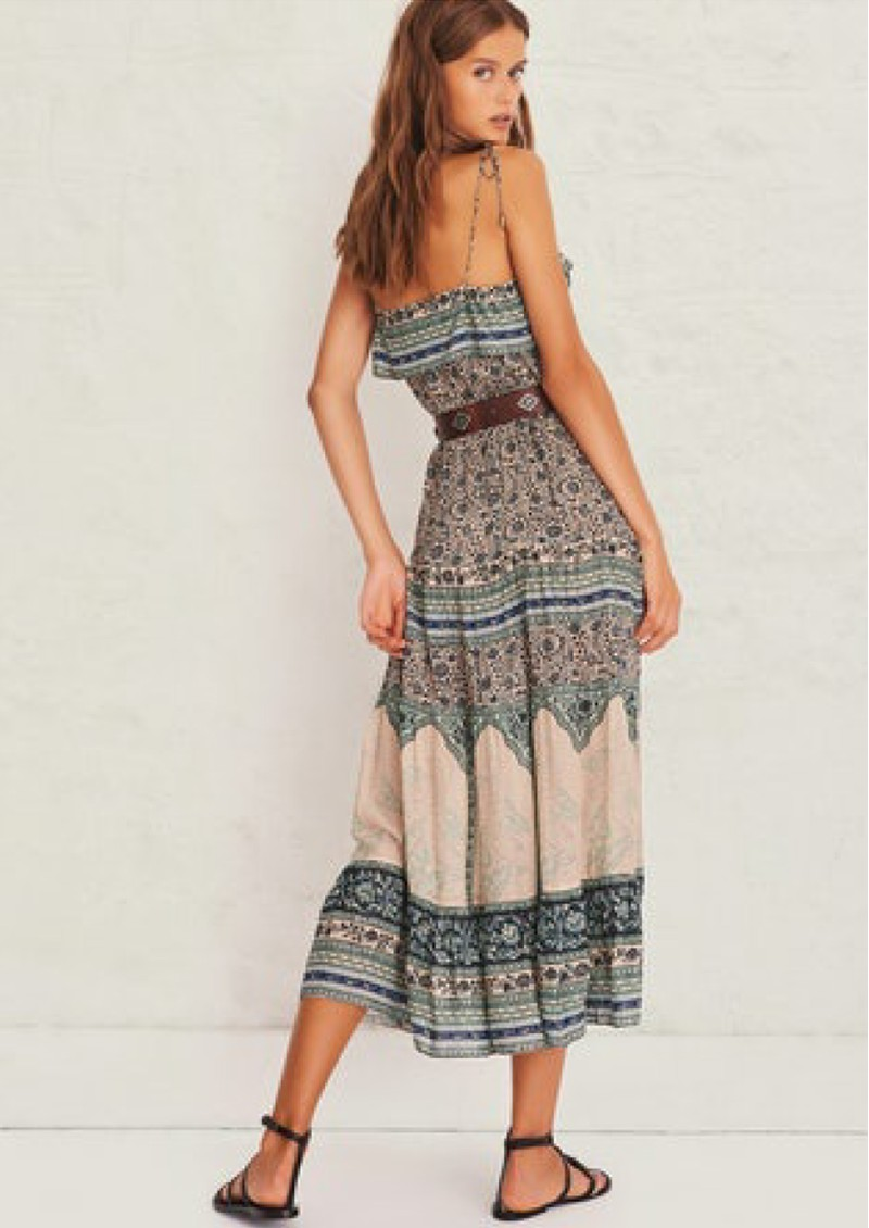 Ba&sh Teresa Printed Midi Dress - Vertdeau main image